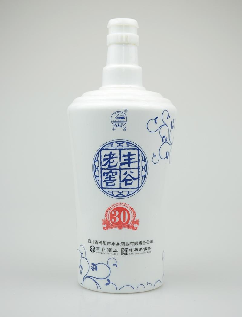 老窖丰谷乳白玻璃酒瓶